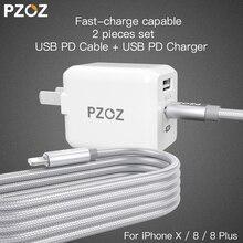 Pzoz PD USB 29 Вт быстро Зарядное устройство адаптер для Apple IPhone X 8 плюс Тип c USB-C Lightning зарядный кабель Быстрая зарядка Dual USB c 3.1