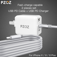 PZOZ PD USB 29W Fast Charger Adapter For Apple Iphone X 8 Plus Type C