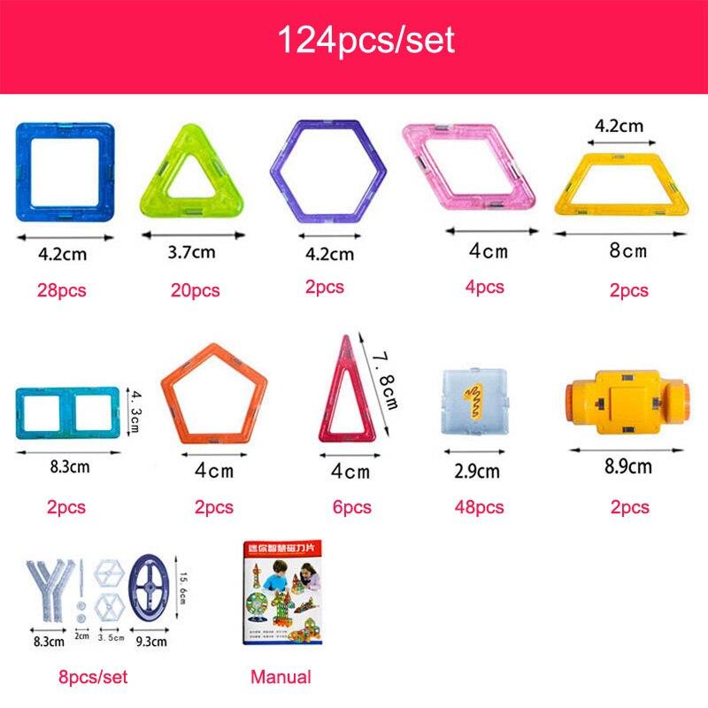 124-252pcs Mini Magnetic Designer Construction Set Plastic Educational Toys For Kids Boys & Girls Christmas Gift #3