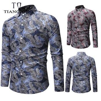 a6dc58b4886 TIAN QIONG Новая мужская рубашка с длинным рукавом Классическая Базовая  пляжная Гавайская Мужская рубашка Slim Fit с цветочным принтом хлопковая р.