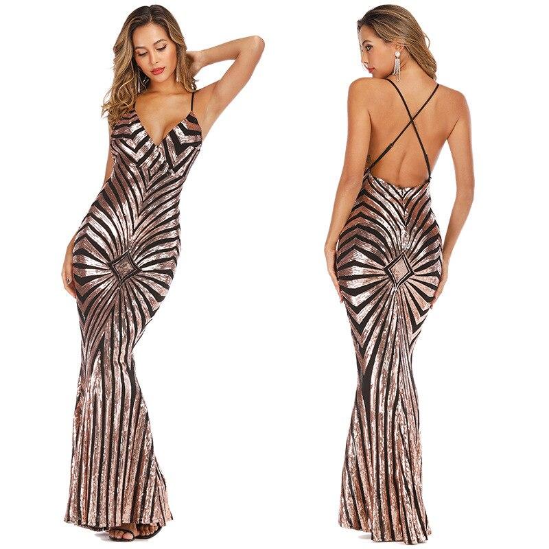 Sexy rose or Sequin dos nu robes sirène 2019 longues bretelles Spaghetti noir Maxi femmes formelle soirée robe de soirée Chea