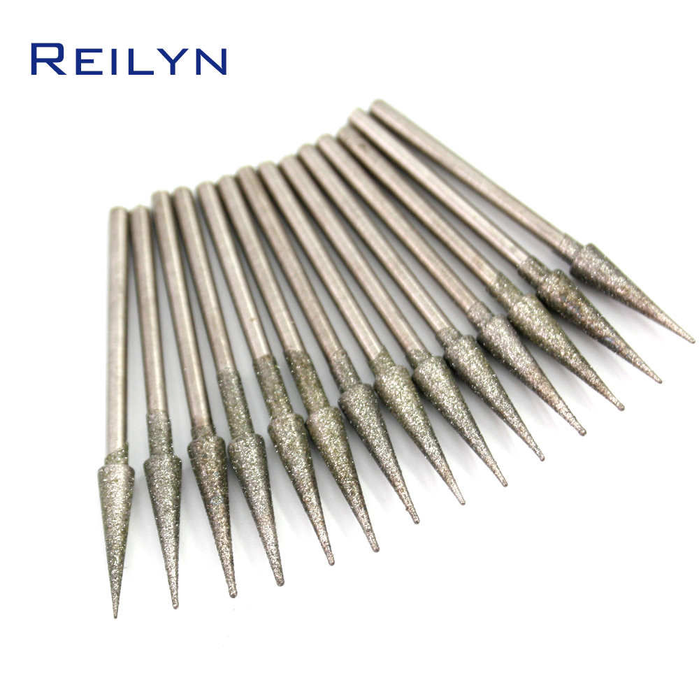 D-Type Emergy Diamond Abrasive Bits Jade Grinding Bits Teeth Grinding Needle Abrasives For Die Grinder/dremel/rotary Tools