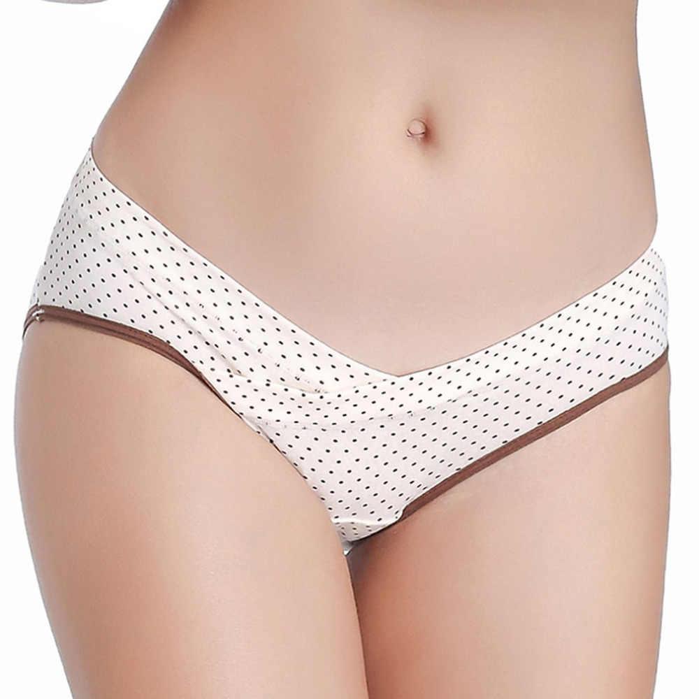 แฟชั่นผู้หญิงสบายผ้าฝ้าย Maternity Panty ชุดชั้นในต่ำเอว Breathable สามเหลี่ยมข้ามตั้งครรภ์ V-Shaped ชุดชั้นในขายส่ง