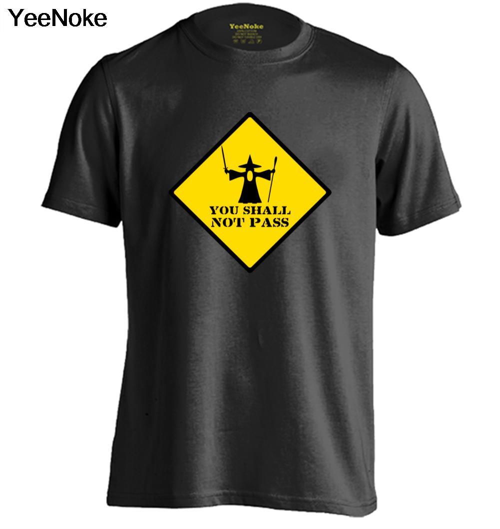 Гэндальф вы не пройдут предупреждающий знак мужские и женские Ретро футболка Дизайн Футболки для девочек