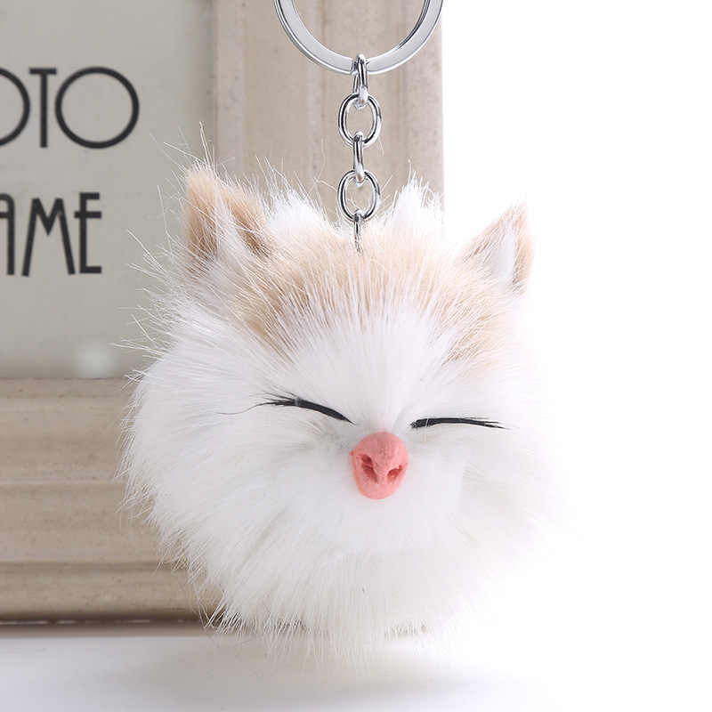 Charm Women Fluffy Keychain Cute Blink Pompon Kitten Cat Key Chain Girls Pompom  Fur Car Key 9014e3e194134