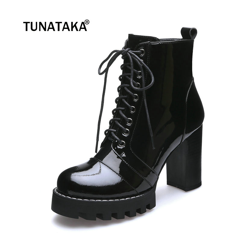Women Genuine Leather Lace Up Thick High Heel Martin Boots Fashion Round Toe Zipper Fall Winter Bootie Black ladies genuine leather lace up thick high heel ankle boots fashion round toe zipper winter women shoes black red