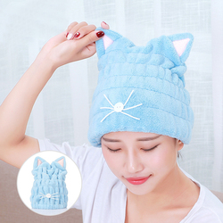 Cute Cat Microfiber Hair-drying Towel Bath Cap Strong Absorbing Drying Long Soft Special Dry Hair Cap Towel With Coral Velvet P2