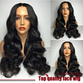 Long Body Wave Natural Black Synthetic Lace Front Wig With Baby Hair Thick Full Head Heat Resistant Synthetic Wigs In Stock