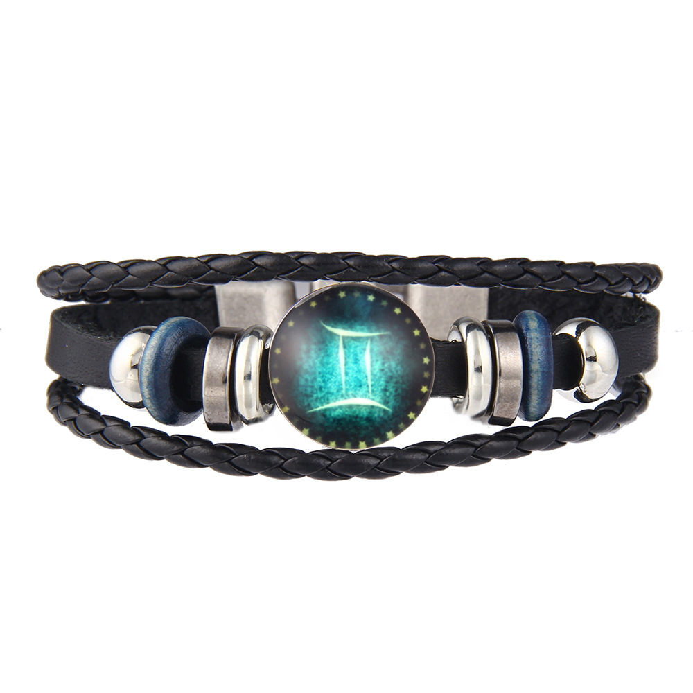2017 Virgo/Sagittarius/Aquarius/Scorpio/Libra/Capricorn 12 Constellation Bracelets Men Women Braided Leather Bracelet & Bangles
