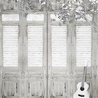 Niestandardowe Fotografia Backdrops Białe Drzwi z Drewna Gitara Kwiat Drzewa Zdjęcie Tkaniny Tła dla Zdjęć Studio Teł Weselne