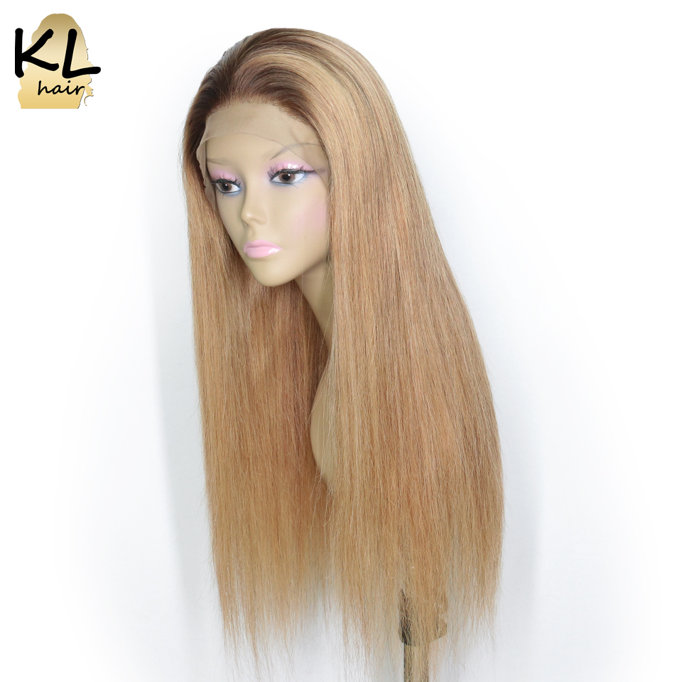 Ombre Color T4 27 Lace Front Human Hair Wigs With Baby Hair Straight Brazilian Remy Hair