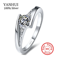 Have Certificate Of Identify 100 925 Sterling Silver Ring Set Luxury 0 75 Carat CZ Diamond