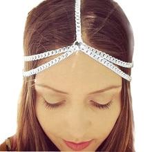 2017 Best Price Women Shiny Metal Head Chain Jewelry Headband Head Piece Hair Band