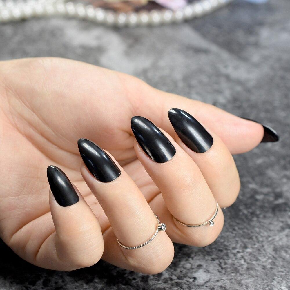 Black Pointy Fake Nails - Best Nail Design 2018