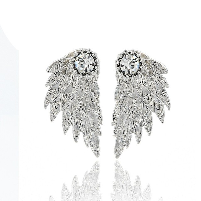 Gothic Silver Color Cool Angel Wings Alloy Stud Earrings Cool Black Feather Earrings for Women Men Fashion Jewelry 4