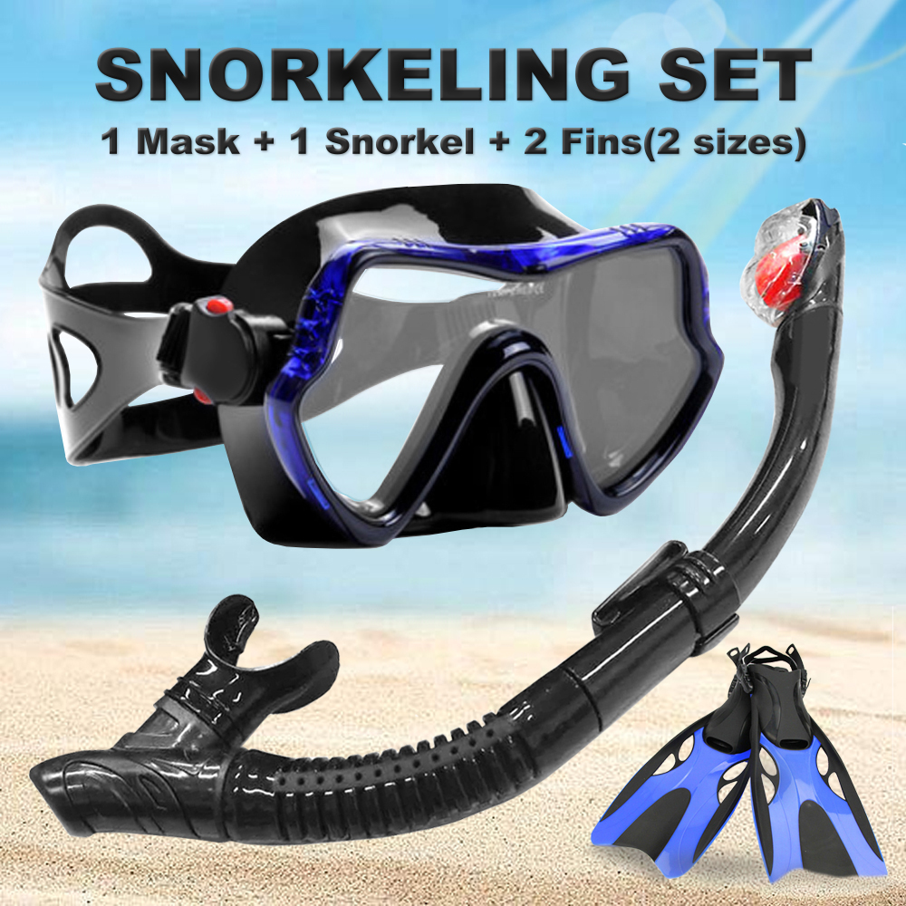 YFXcreate Professional Anti-Fog Scuba Diving Goggles Glasses Mask + Easy Breath Tube Snorkels + Fins Set
