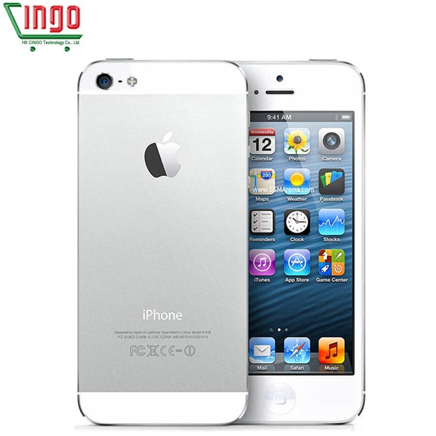 Desbloqueado Originais iPhone 5 16 GB/32 GB/64 GB ROM Dual-core 3G 4.0 polegadas câmera iCloud 8MP tela WIFI GPS SISTEMA OPERACIONAL IOS Telefones Celulares