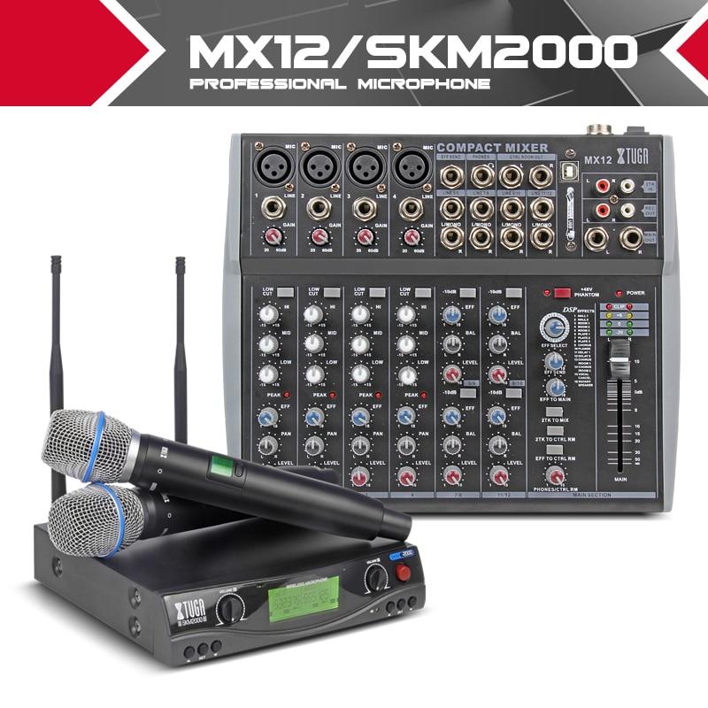 XTUGA Party audio Set UHF Wireless Microphone System professional music mixer karaok singing Church pray speak
