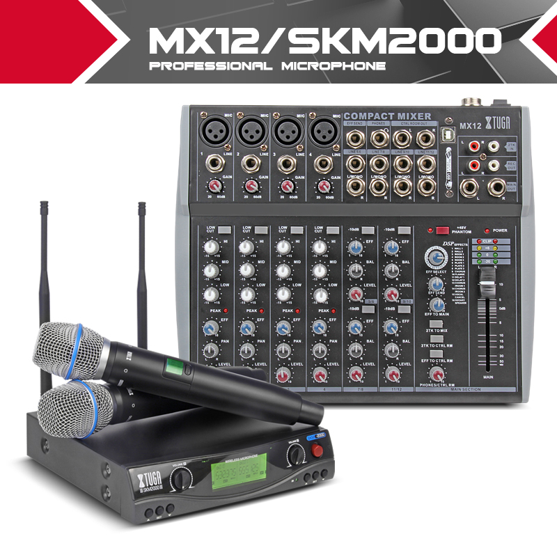 XTUGA Party Audio Set UHF Wireless Microphone System / Professional Music Mixer Karaok Singing Church Pray Speak Bible