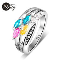 UNY Ring 925 Sterling Silver Moms Personalized Rings Birthstone Customized Love DIY 5 Stone Engrave Family Heirloom Promise Ring