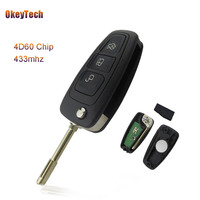 OkeyTech 433MHz 4D60 Chip 3 Buttons Flip Folding Remote Control Key For Ford Mondeo Focus Fiesta