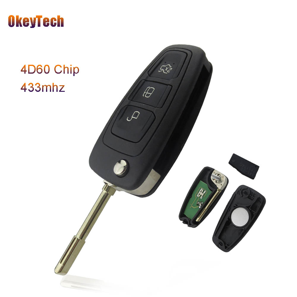 OkeyTech 433MHz 4D60 Chip 3 Buttons Flip Folding Remote Control Key for Ford Mondeo Focus Fiesta Mk1 Transit Connect F021 Blade