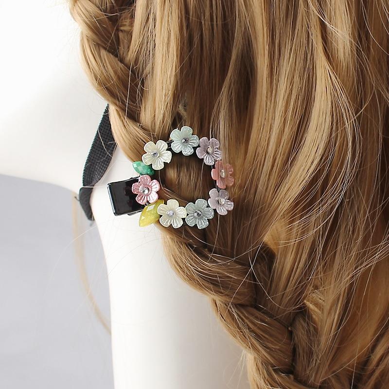 3 5 Black Flower Hair Clip With Flower Center: New Design Headwear Flower Hair Clips For Children