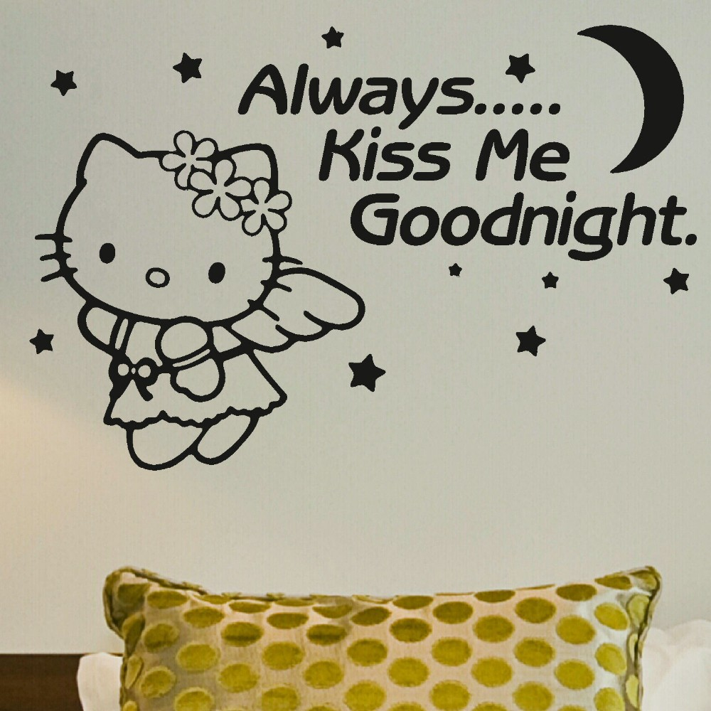 Aliexpress.com : Buy Hot Sale Always Kiss Me Goodnight Quotes Wall Sticker  With Cute Hello Kitty Wall Mural Vinyl Art Girls RoomDecor Wallpaper Y 665  From ... Part 94
