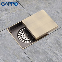 GAPPO Drains Shower Floor Drains Square Shower Floor Cover Antique Brass Chrome Plugs Bathroom Drains Stopper Sink Protector