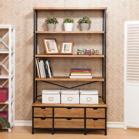 Bookcase Cabinets Living Room Leather Couch Decor Bookcases Furniture Home Solid Wood Shelf Book Rack Modern Industrial Bookshelf Cabinet