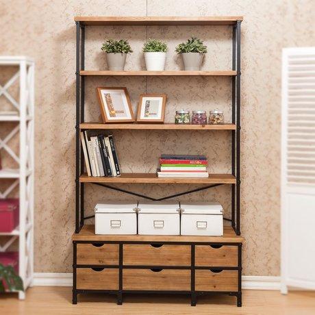 Bookcase Cabinets Living Room Cupboards Bookcases Furniture Home Solid Wood Shelf Book Rack Modern Industrial Bookshelf Cabinet