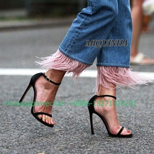 ФОТО classic high quality black nubuck leather women sandals thin tape open toe cover heel concise pumps super thin high heel shoes