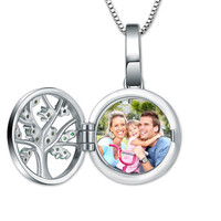 Wholesale Cusomed Family Tree Round Photo Necklace For Mother Sterling Silver Photo Jewelry