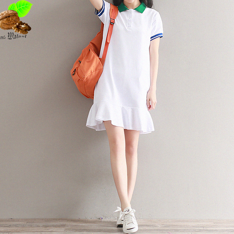 Summer Women Knitted  Dress Female Loose Casual Short-Sleeve Preppy Style Ruffle T Shirt White Dress Patchwork Clothing for Lady