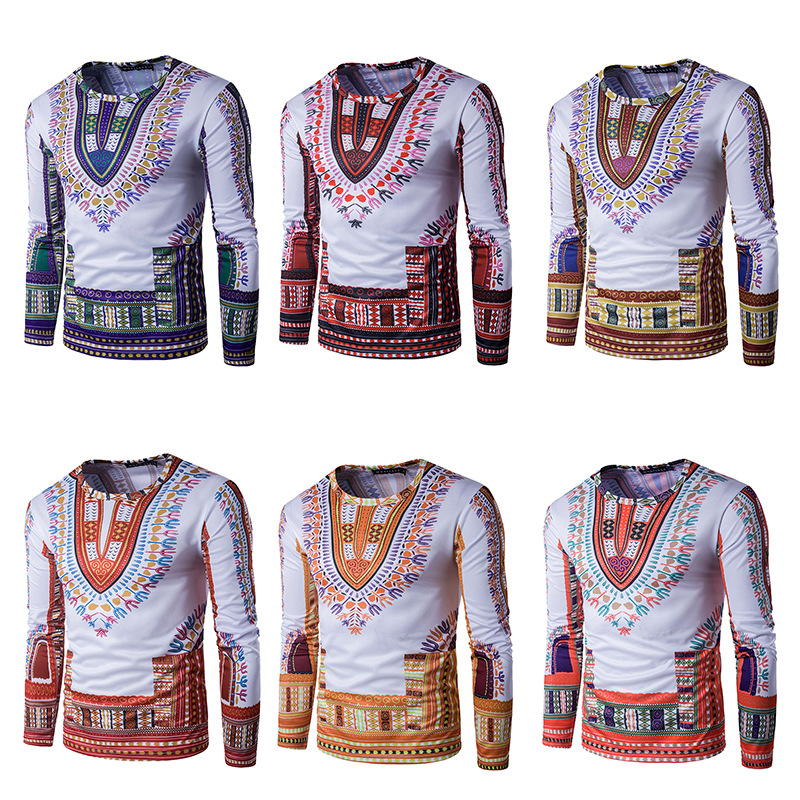 Dashiki African Men's Individuality Of National 3d Printing T-shirts Suihua Long Sleeved T-shirt African Men Clothing