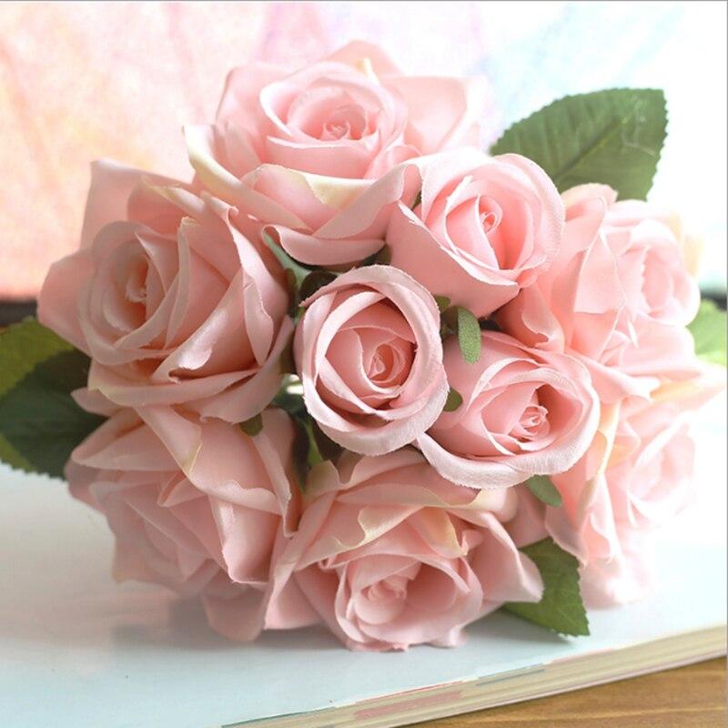 9pcs/set Rose Flowers Bouquet Wedding Decoration Thai Royal Rose Upscale  Artificial Flowers Faux Silk