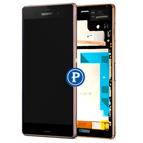 2 Sim Version For Sony Xperia Z3 Dual D6633 D6683 Complete lcd with touchpad and frame front housing Assy in Copper OEM