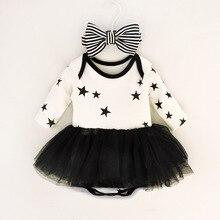 Newborn Baby Dress Infant Girls Mesh Tutu Dresses Pentagram Jumpsuit & Stripe Bow Headband Girl Clothes Set