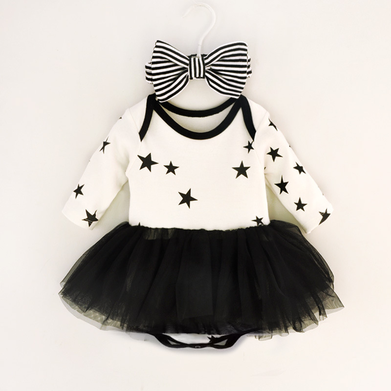 Princess Baby Girl Dress Set Pentagram Long Sleeves Mesh Party Dresses Bow Headbands & Jumpsuit Infant Girls Dress Clothing