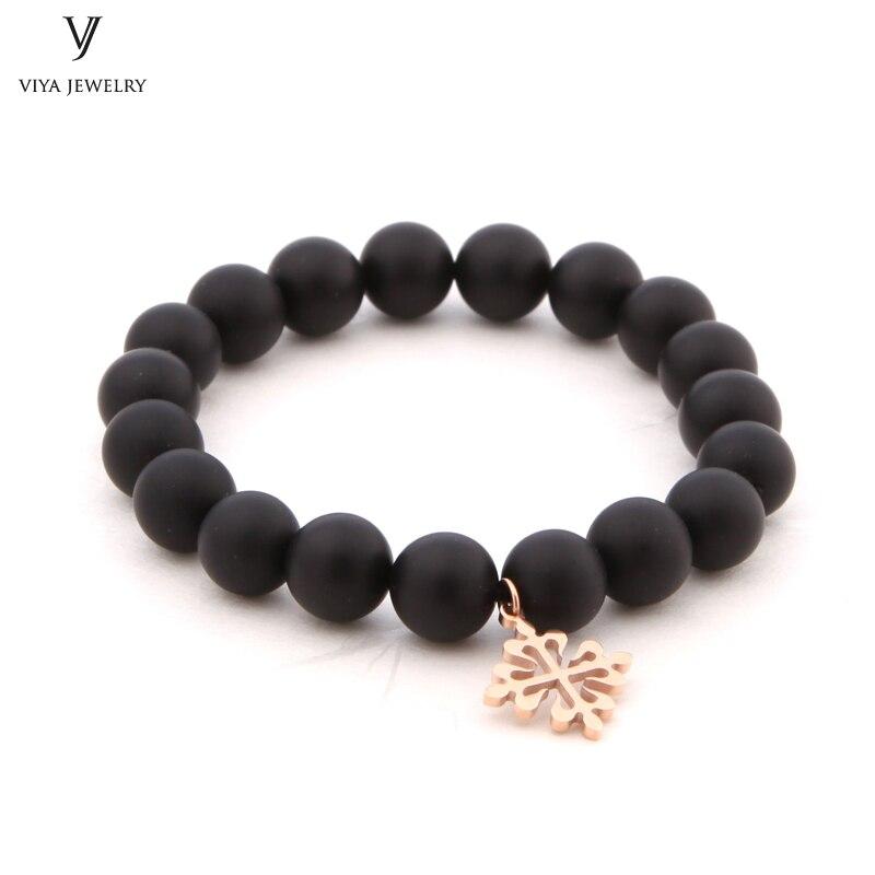 8mm Matt Black Onyx Beads Elastic Bracelet With Rose Gold PP Cross High Quality Onyx Beads Strand Bracelets For Men PP Watch все цены