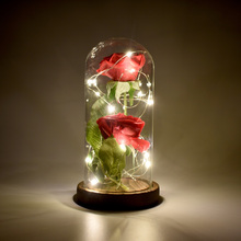 Artificial Preserved Beautiful Fresh Red Flowers Rose With LED Light