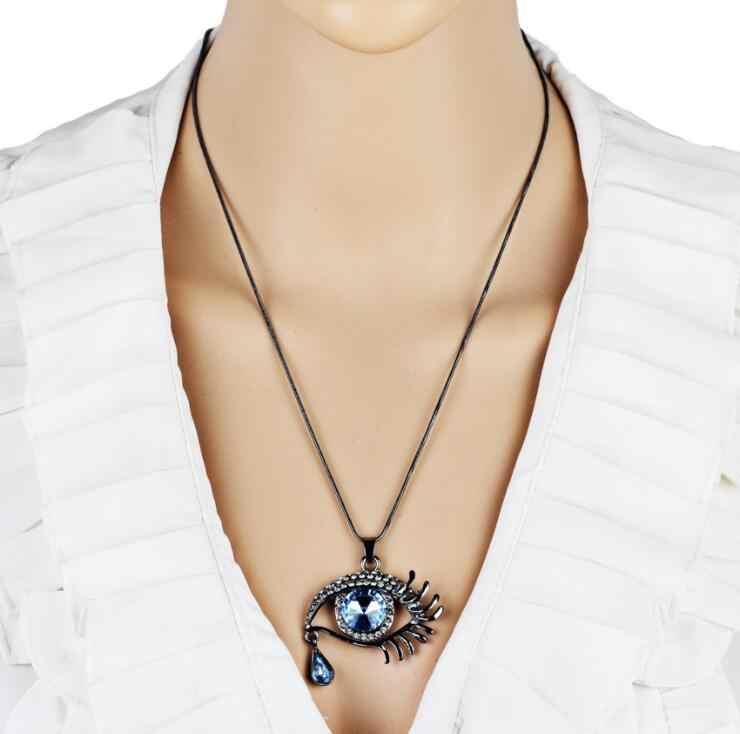 คุณภาพสูง 2018 ใหม่ Teardrop Collier Bijoux Vintage eye จี้คริสตัลคริสตัลสร้อยคอยาว Chain drop shipping