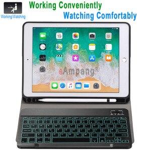 Image 3 - Rétro éclairé Bluetooth clavier étui pour iPad 9.7 2017 2018 étui avec porte crayon pour iPad Air 1 2 5th 6th génération Pro 9.7 couverture