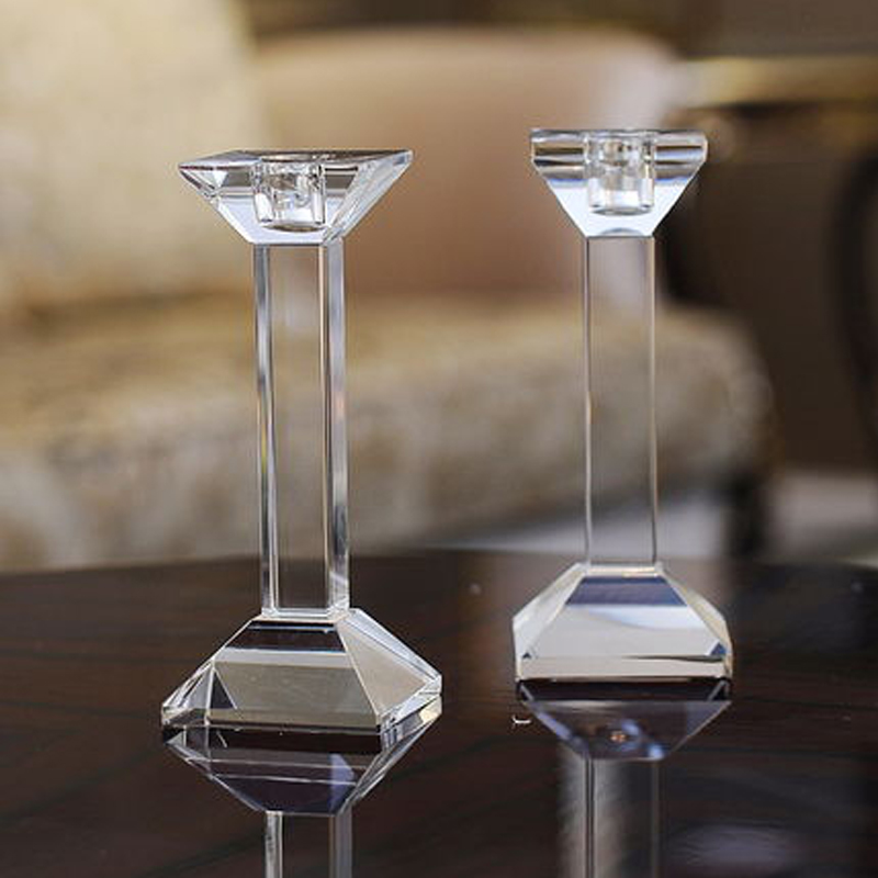 Modern Crystal candle holders glass minimalist  votive holder Matching Stick Candle candelabra wedding decoration