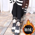 Outside will fall and winter and velvet leggings increasing female wear imitation cowboy elastic thin foot height pants