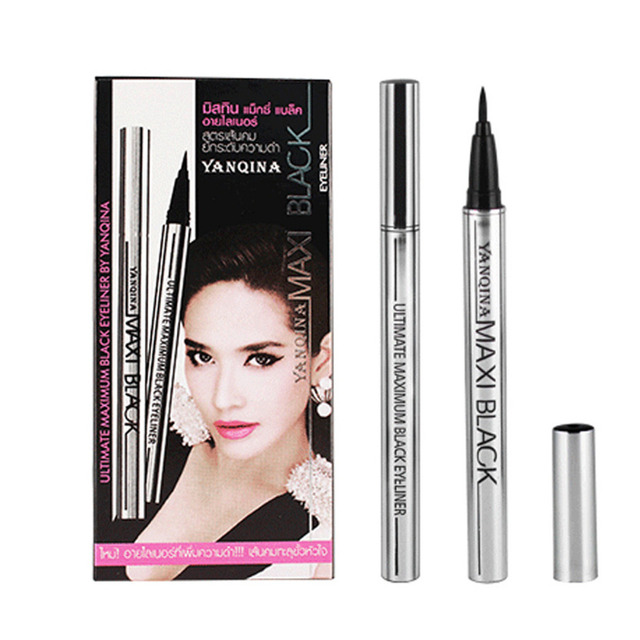 YANQINA Makeup Eyeliner Pencil Waterproof Black Eyeliner Pen No Blooming Precision Liquid Eye liner 12pcs/set