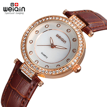 Reloj Mujer WEIQIN 2017 New Fashion Ladies Leather Crystal Diamond Rhinestone Watches Women Beauty Dress Quartz Wristwatch Hours