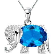 Mode violet / bleu collier en cristal Cz animaux Elephant pendentif colliers pour les femmes dames cadeaux colares femininos