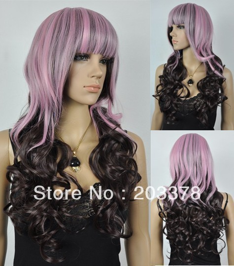 Capless Long Heat-resistant Fashion Mixed Color Costume Party Wig 10pcs/lot mix order free shipping
