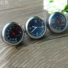 YiZhi car styling decoración metros Adornos mejor regalo 4 CM estilo fresco reloj de cuarzo + higrómetro + termómetro